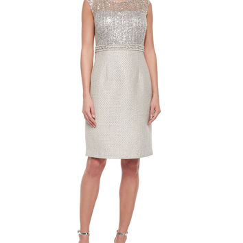 Women's Cap-Sleeve Combo Lace Tweed Sheath Dress - Kay Unger New York - Silver multi