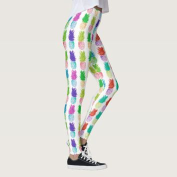 Colorful pop art painting pineapple pattern leggings