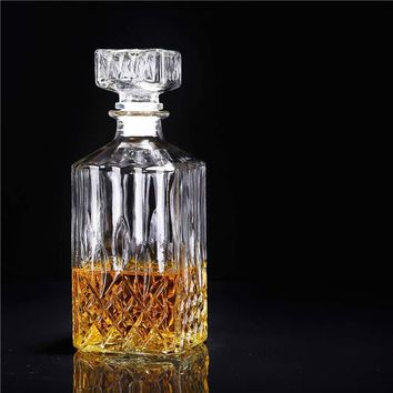 900ml Vintage Decanter Glass Liquor Whiskey Crystal Bottle Wine Stopper Scotch