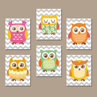 OWL Nursery Wall Art  Artwork Playroom Bright Colorful Theme Grey Chevron Pattern Set of 6 Prints  Baby Decor  Bedroom  Crib