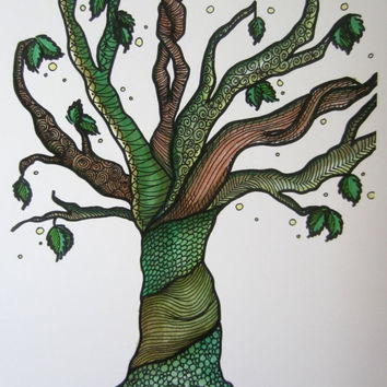 "ON SALE Tree art, abstract tree, green decor, doodle Tree, nature print,  approx 8"" X 10"", #Etsygifts"
