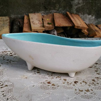 McCoy Aqua Blue Lined White Textured Planter Bowl 203 Teardrop Shape