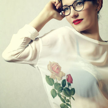 Tattoo Pin up Style Flowers Print Oversize White Chiffon Transparent Top Free Shipping :)