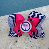 Set of 1 Navy and White Chevron with Hot Pink Twisted Boutique Hair Bow Sailor Hairbow Sailor Hair Bow Chevron Hairbow Chevron Bow Bottlecap