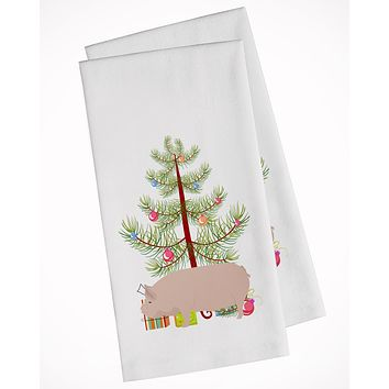 Welsh Pig Christmas White Kitchen Towel Set of 2 BB9304WTKT