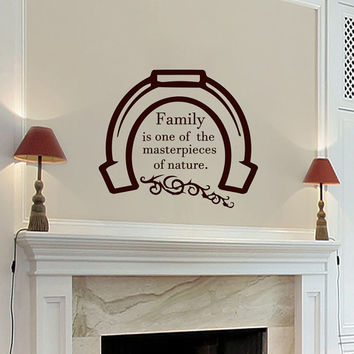 Wall Decals Family Quote Decal Vinyl Sticker Horseshoe Home Decor Bedroom Dorm Living Room MN 96