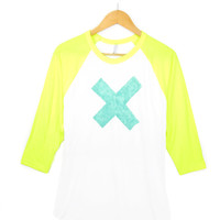 X Marks the Spot - Hand STENCILED Deep Crew Neck 3/4 Sleeve Raglan Women's Tee in Neon Yellow Mint and White - S M L XL 2XL