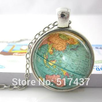 jewelry Vintage Globe Necklace Planet Earth World Map