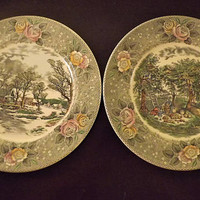 Currier and Ives Transferware, Vintage Wall Hanging Plate, Floral Rose Plates, Set of 2 Winter Scene Plate, Autumn Apple Harvest, Grist Mill