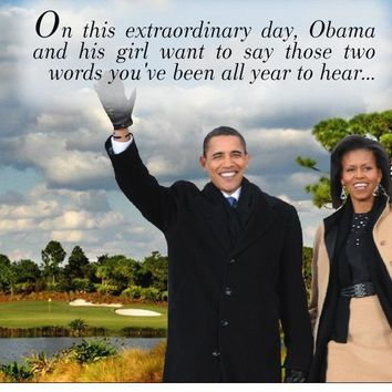 Funny Birthday Card Obama and Michelle waiving Goodbye