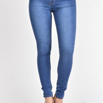Blue-Curvy Girl HIGH RISE SKINNY JEANS