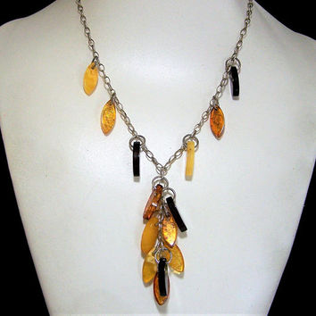 Sterling Silver Amber Y Necklace,  Dangling Beads Attached Pendant, Boho Chic Style, Vintage Jewelry  817s