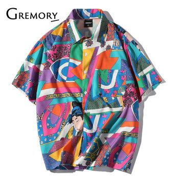 2df10d7e35 Men Loose Hip Hop Shirt Harajuku Japanese Ukiyo E Anime Shirt Sh
