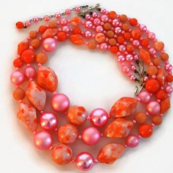 Vintage 1960's Pink Beaded Necklace, Pink Peach Layered Necklace, Costume Jewelry