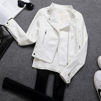 2017 New Fashion Women Black White Faux Leather Jackets Lady Bomber Motorcycle Jacket Outerwear Coat with Zipper Hot Sale C460