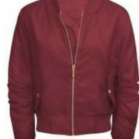 Burgundy Padded Bomber Jacket