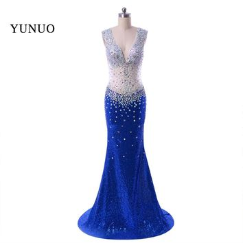 2018 Sparkly Formal Women Dresses New Arrival Mermaid Evening Dress Long Sequines Blue Real Photo Sweep Train Custom x11252