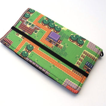 Video Game Cell Phone Case, 8 Bit Map Fabric Geek Wallet, iPhone Clutch