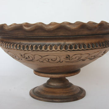 Ceramic cake stand. Fruit stand. Fruit bowl. Hand made Bowl. Unglazed Bowl. Art pottery bowl.
