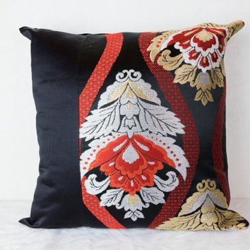 "Kimono  Cushion Cover  ""Blossoms at Dusk"" (Japanese Silk Kimono Obi; Kimono Cushion; Made in Japan; Japanese Pillows; Kimono Pillows)"