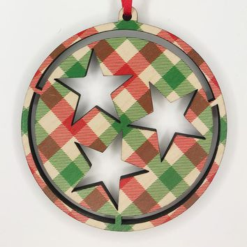 Wooden Natural Plaid Hollow Tri Star Christmas Tree Ornament