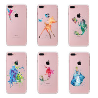 Cute Cartoon Case For iphone 5 5S SE 6 6S 7 Plus Transparent Soft Silicone Tpu Ariel Little Mermaid Watercolor Case
