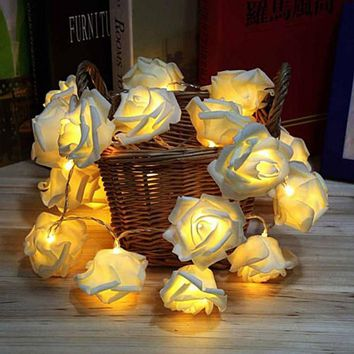 2016 Holiday string lights leds 20LED Novelty Rose Flower String Lights Romantic Fairy Wedding Party Christmas Holiday Lighting