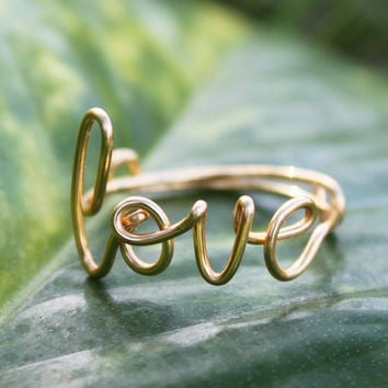 Gold Wire Love Ring - Adjustable Band - Dainty Ring, Conversation Ring