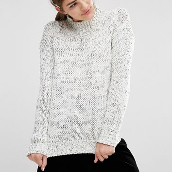 Fashion Union Oversized High Neck Knitted Jumper In Space Dye