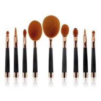 Stylish 9 Pcs Multifunction Golf Clubs Shape Nylon Makeup Brushes Set - Rose Gold