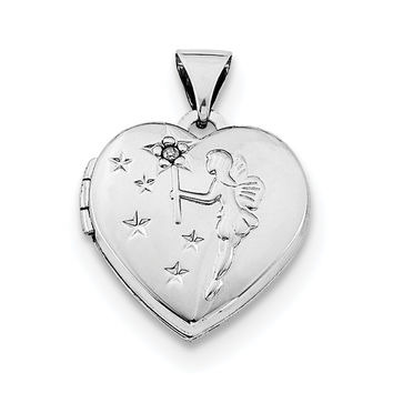 Sterling Silver Rhodium-plated Heart with Diamond Fairy Wishes Locket QLS608