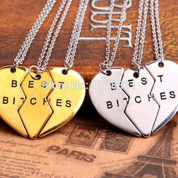 "New Style Friendship Jewelry Fashion Gold Sliver Broken Heart Parts 3 "" Best Bitches"" Necklaces & Pendants For Best Friend"