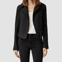Womens Alford Matte Leather Biker Jacket (Matt Black) | ALLSAINTS.com