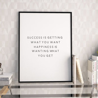 PRINTABLE Art,Success Quote,Office Decor,Life Quote,Office Sign,Wall Art,Dorm Room Decor,Office Wall Art,Typography Print,Quote Prints
