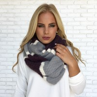 Purple & Grey Plush Infinity Scarf