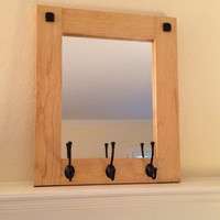 Rustic wood mirror with coat hooks, wall mirror, entryway mirror