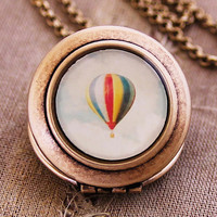 Retro Balloon  Photo Locket  Hot Air Balloon by HeartworksByLori