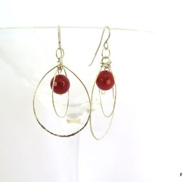 Carnelian and Sterling Orbit Earrings, Gift for Her