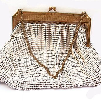 "White Mesh Evening Purse Signed Whiting Davis Gold Chain & Trim 7"" Vintage 1950s"
