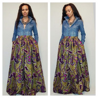 African Print Maxi Skirt with pockets