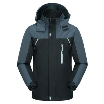 Plus Size Ski Jacket Men Windproof Ski Suit Snowboard Winter Jacket Men Waterproof Outdoor Windbreaker Jacket Hoodie Sportswear