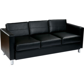 Pacific Easy-Care Sofa Couch with Box Spring Seats, Black Vinyl