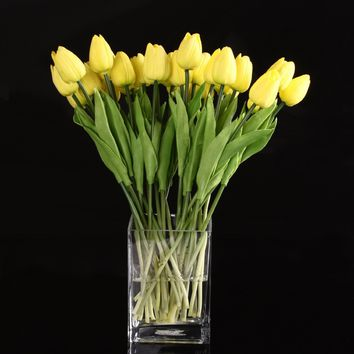 FJS 10pcs Yellow Latex Real Touch Tulip Flower with Leaves For Wedding Bouquet Decorate