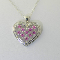 925 Sterling Silver Pink Sapphire Diamond Heart Necklace .03 ct