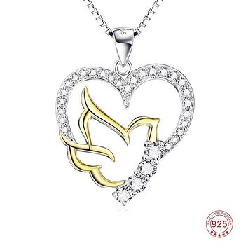 925 Silver Rhinestone CZ Peace Dove Heart Pendant Statement Necklace