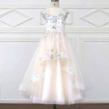 Romantic Tulle Flower Girl Dress Sleeveless for Weddings Appliques Girl Party Communion Dress Pageant Gown