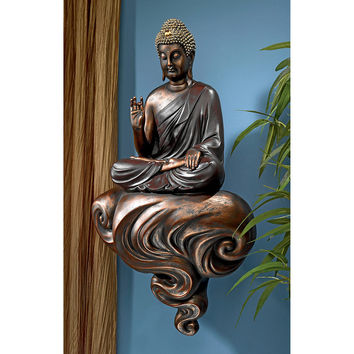 """Park Avenue Collection """"Enlightened Buddha On A Cloud"""" Floating Wall Sculpture"""