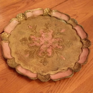Vintage Ornate Gold Pink Carved Wood Tray Great for Vanity Dresser Kitchen Table Bar Hanging