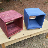 Rolling Wooden Storage Crate / Cube in Red Stain