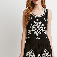 Cutout-Back Embroidered Dress